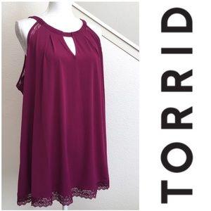 Torrid lace trim keyhole blouse berry wine cami